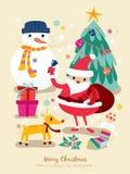 Het beeldverhaalillustratie van de Kerstmiskerstman Royalty-vrije Stock Foto's
