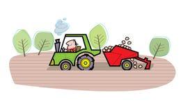 Het beeldverhaalillustratie van de landbouwer Stock Foto