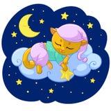 Het beeldverhaalillustratie van de potslaap van de slaap van de katjesdroom op wolkensterren in pyjama voor het malplaatje van he stock illustratie
