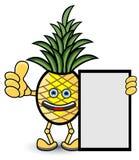 Het Beeldverhaalillustratie van het ananas Organische Etiket Stock Afbeelding
