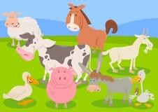 Het beeldverhaalillustratie van landbouwbedrijf dierlijke karakters Stock Foto's