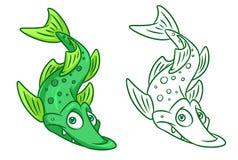 Het beeldverhaalillustraties van vissensnoeken Stock Foto