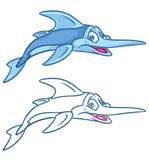Het beeldverhaalillustraties van vissenzwaardvissen Royalty-vrije Stock Fotografie