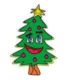 Het beeldverhaalkarakter van de kerstboom Stock Fotografie