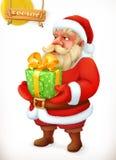 Het beeldverhaalkarakter van de Kerstman Isoleer op wit Het pictogram van toestellen Stock Fotografie
