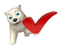Het beeldverhaalkarakter van de pret ijsbeer met juist teken Stock Afbeelding