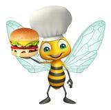 het beeldverhaalkarakter van de pretbij met hamburger en chef-kokhoed Stock Foto's