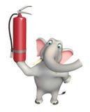 Het beeldverhaalkarakter van de pretolifant met brandblusapparaat vector illustratie
