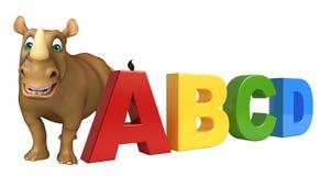 Het beeldverhaalkarakter van de pretrinoceros met abcdteken stock illustratie