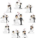 Het beeldverhaalkarakters van het huwelijk, vector Royalty-vrije Stock Foto's