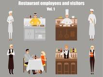 Het beeldverhaalkarakters van restaurantarbeiders De mensen werken in geïsoleerd restaurant Japanse kok kokende sushi Paar op een Stock Foto's