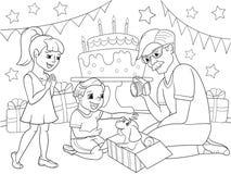 Het beeldverhaalkleuring van kinderen van de vakantie Verjaardag met giften, een gedenkwaardig schot De jongen stelt een puppy aa Royalty-vrije Stock Foto