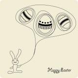 Het beeldverhaalkonijntje van Pasen met eieren Stock Afbeeldingen