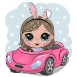 Het beeldverhaalmeisje met konijnoren gaat op een roze auto royalty-vrije illustratie