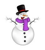 Het beeldverhaalontwerp van de Kerstmissneeuwman voor kaart De winterpictogram, symbool vectorillustratie op witte achtergrond Royalty-vrije Stock Afbeeldingen