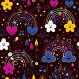 Het beeldverhaalpatroon van de regenbogennacht Stock Foto