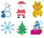 Het beeldverhaalpictogrammen van het nieuwjaar royalty-vrije illustratie