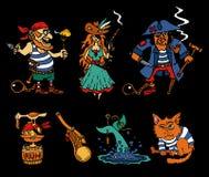 Het beeldverhaalpictogrammen van piraatlegenden op zwarte achtergrond Royalty-vrije Stock Fotografie