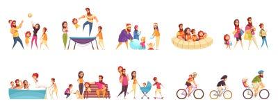 Het Beeldverhaalreeks van de familie Actieve Vakantie royalty-vrije illustratie