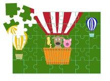 Het beeldverhaalspelen van puzzelanimala, illustraties Stock Foto