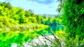 Het beeldwaterverf van de bergwaterval Royalty-vrije Stock Foto