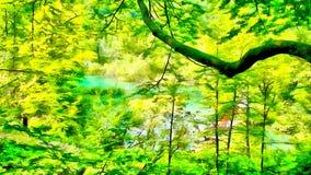 Het beeldwaterverf van de bergwaterval Stock Fotografie