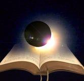 In het begin? Een samenstellingsfoto die het thema van het Ontstaan, met de heldere regenboog-als aanwezigheid die van de God afs royalty-vrije stock afbeelding