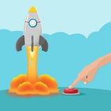 Het Begin Rocket Vector van de handdrukknop stock fotografie