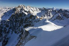 Het begin van de beroemde off-piste skilooppas, Vallee Blanche, Mont Blanc, Frankrijk Stock Afbeelding