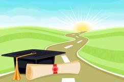 Het begin van de graduatie aan een rooskleurige toekomst Stock Afbeelding