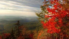 Het begin van de herfst in Blauw Ridge Mountains stock foto