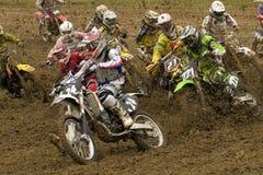 Het begin van de motocross Stock Foto's