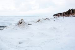 Het begin van de winter, het bevriezen van Ob van Novosibirsk r Royalty-vrije Stock Afbeelding