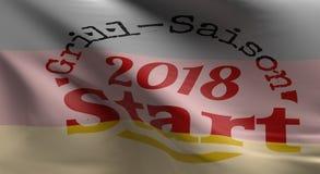 Het Begin van grillsaison, het Duitse vlag 3d teruggeven royalty-vrije illustratie