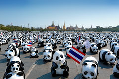 1600 het beginshowcase van de panda'scampagne in Sanam Luang Bangkok door WWF Royalty-vrije Stock Afbeelding