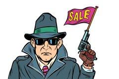 Het beginverkoop van de spiongeheimagent Isoleer op witte achtergrond vector illustratie
