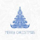 Het begroeten van decoratieve kaart met Kerstmisboom Royalty-vrije Stock Afbeeldingen