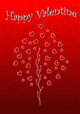 Het behang van de gelukkige Valentijnskaart met boom en harten stock illustratie