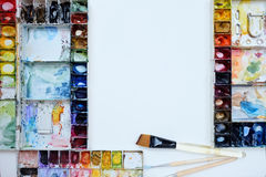 Het behang van de het paletkunst van de Colorfullwaterverf Stock Foto's