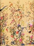 Het Behang van de Kunst van bloemen en van Vogels Stock Foto