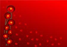 Het behang van de valentijnskaart met rood lichten en hart Stock Foto's