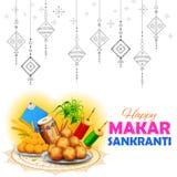 Het behang van Makarsankranti met kleurrijke vlieger voor festival stock illustratie