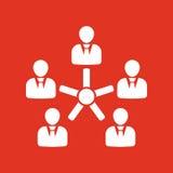 Het beheer en groepswerkpictogram Team en groep, groepswerk, mensen, alliantie, beheerssymbool Ui web embleem teken vector illustratie