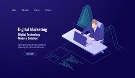 Het beheer van het boekhoudingsgeld, digitale marketing, mens zit en werkt bij de computer, analytics en van statistiekengegevens stock illustratie