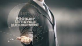 Het Beheer van de productlevenscyclus met het concept van de hologramzakenman royalty-vrije illustratie