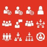Het beheerspictogram, reeks van 12 pictogrammen Team en groep, groepswerk, mensen, alliantie, beheerssymbool Ui web embleem teken vector illustratie