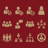 Het beheerspictogram, reeks van 12 pictogrammen Team en groep, groepswerk, mensen, alliantie, beheerssymbool Ui web embleem teken stock illustratie