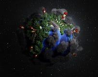Het behoud van de Ekokontseptaard de planeet is behandeld met bomen vector illustratie