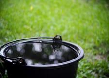 Het behoudsemmer van het regenwater in tuin Stock Foto