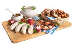 Het Beierse Ontbijt van de Kalfsvleesworst Stock Foto